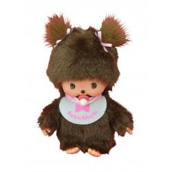 Monchhichi baby - Bebichhichi med pink hagesmæk