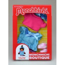 Dukketøj til Monchhichi - Blåt kjolesæt