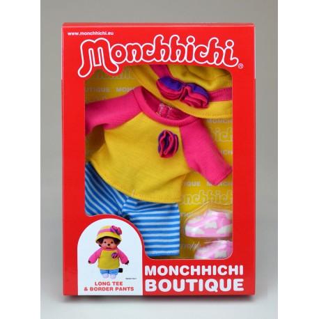 Dukketøj til Monchhichi - Gult sommersæt
